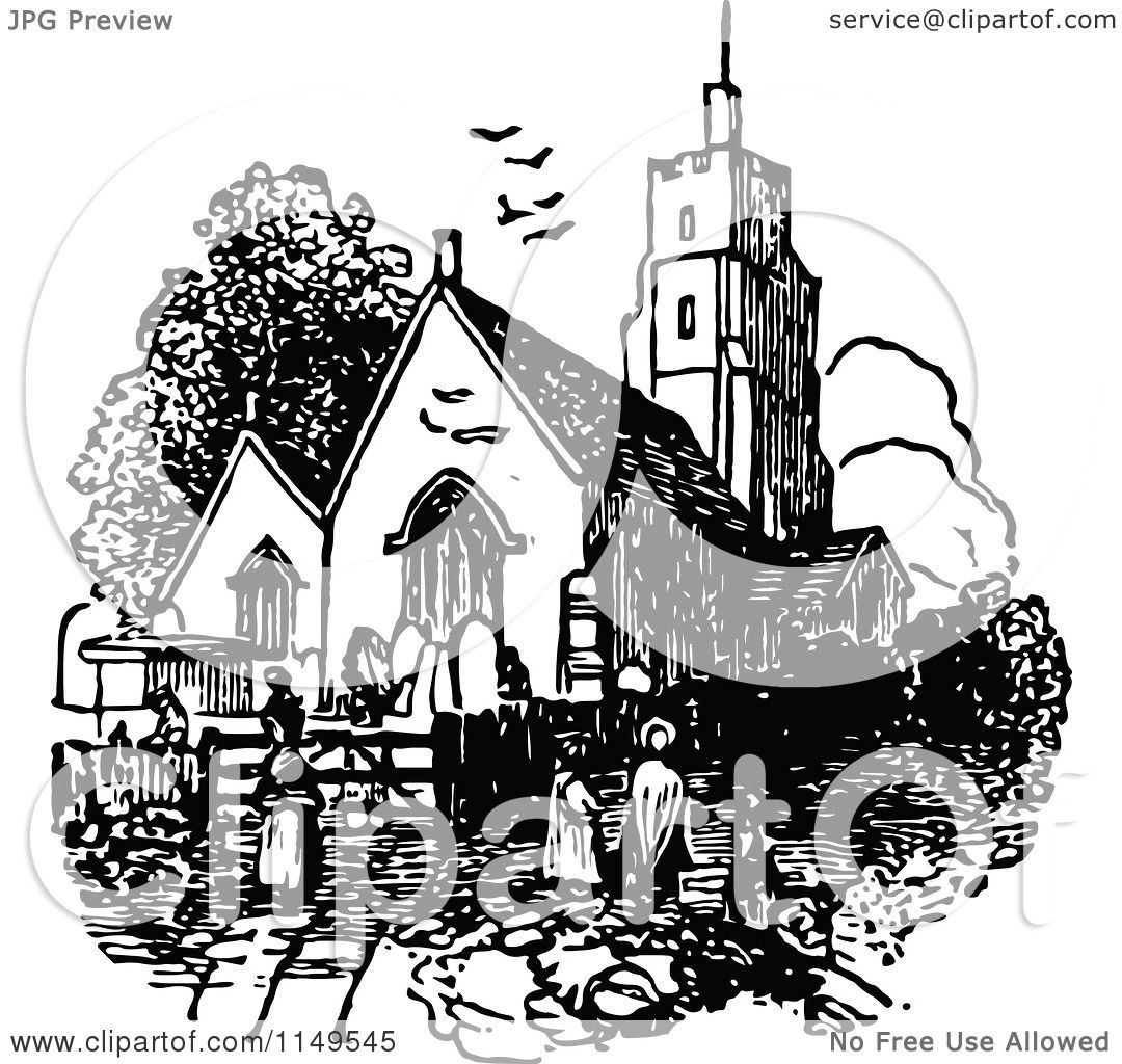 Clipart Of A Retro Vintage Black And White Church And