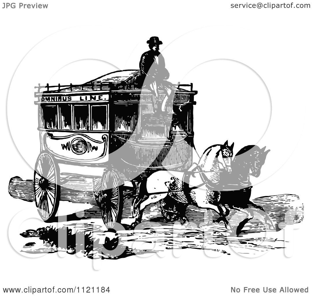 Clipart Of A Retro Vintage Black And White Coachman And ...