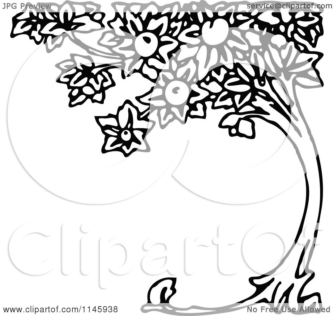 Clipart Of A Retro Vintage Black And White Curved Peach Tree