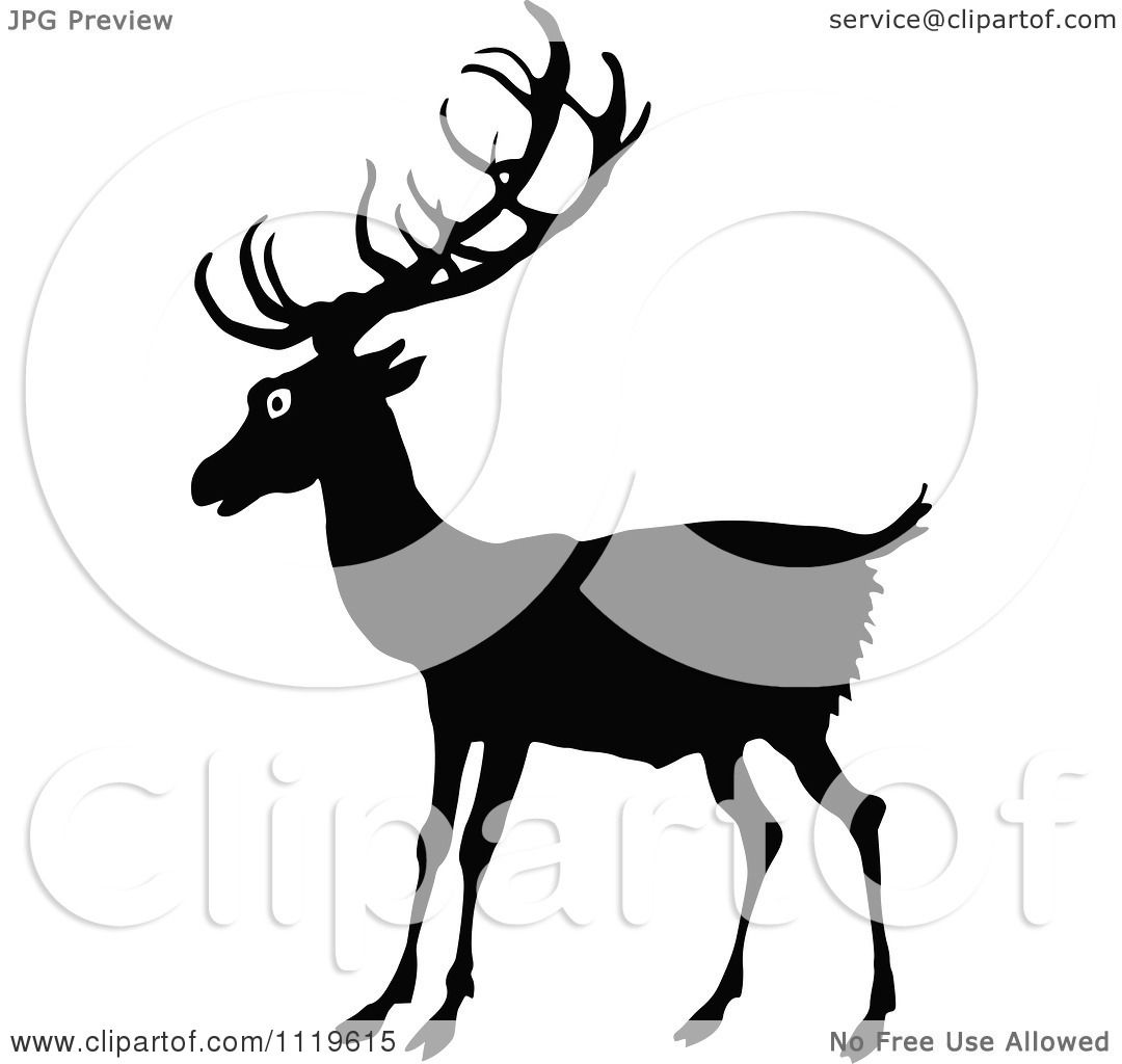 Clipart Of A Retro Vintage Black And White Deer - Royalty ...