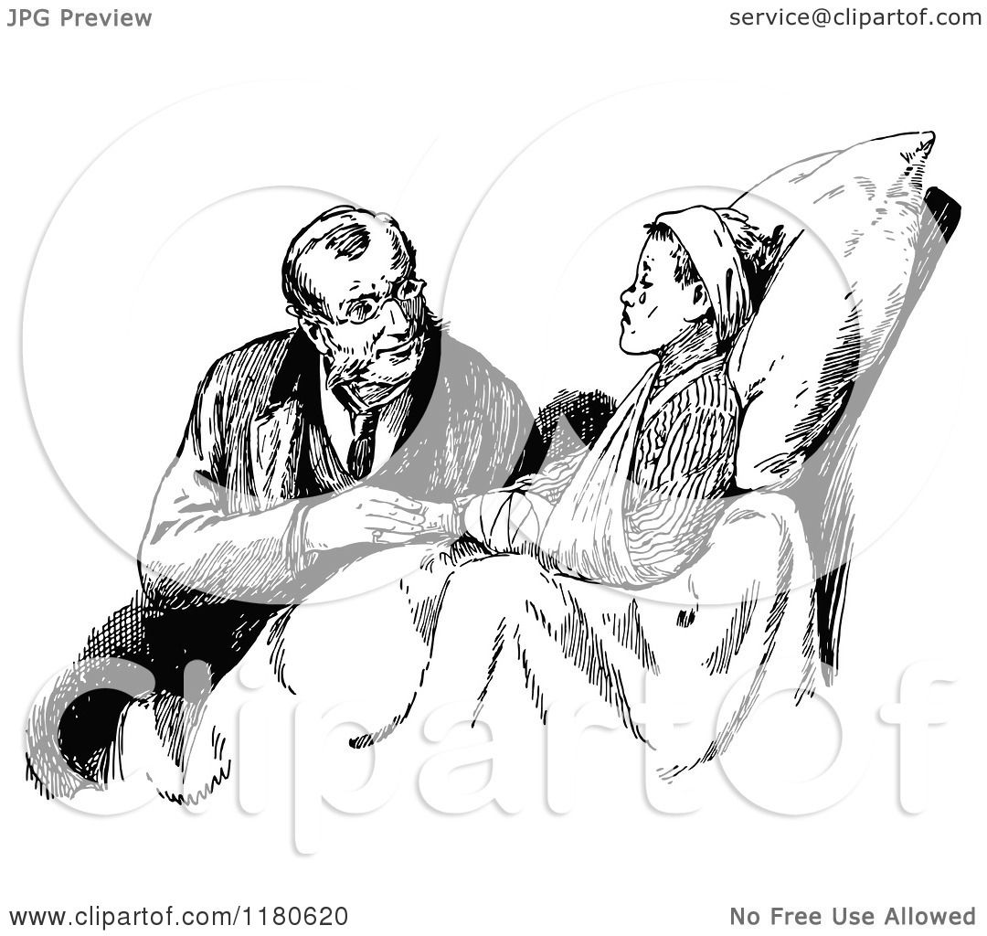 Clipart Of A Retro Vintage Black And White Doctor Injured Boy