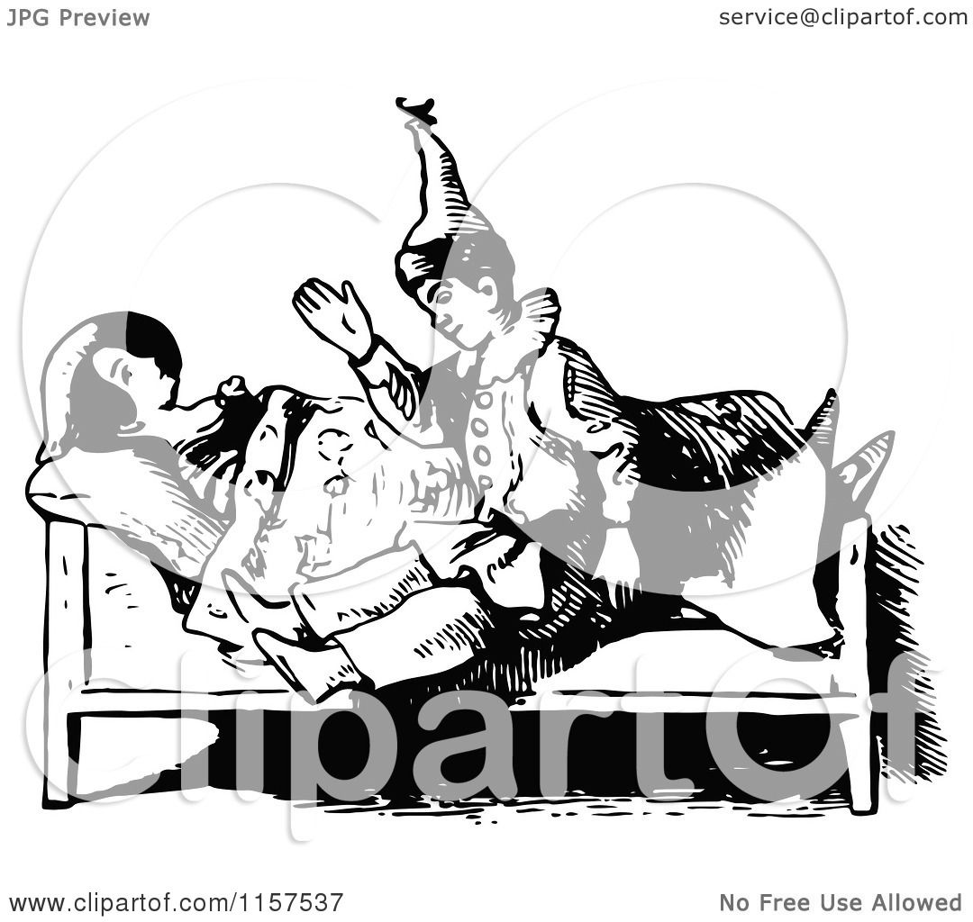 Clipart Of A Retro Vintage Black And White Doll Bedtime