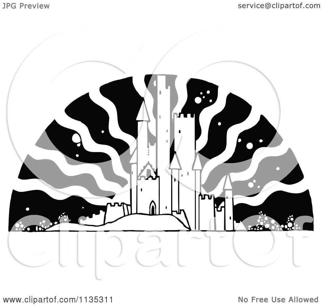 Clipart Of A Retro Vintage Black And White Fairy Tale Castle Sun