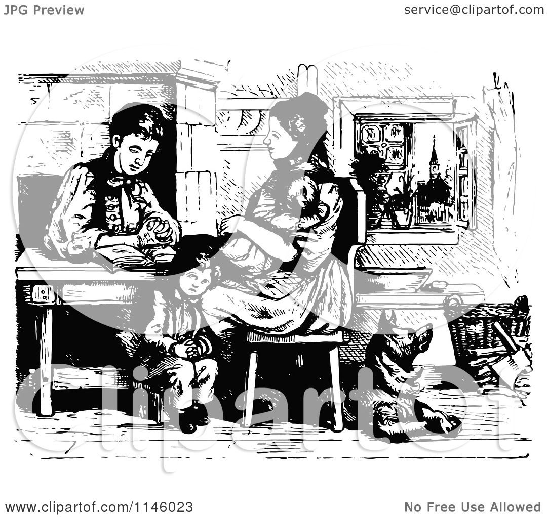 Clipart Of A Retro Vintage Black And White Family Reading