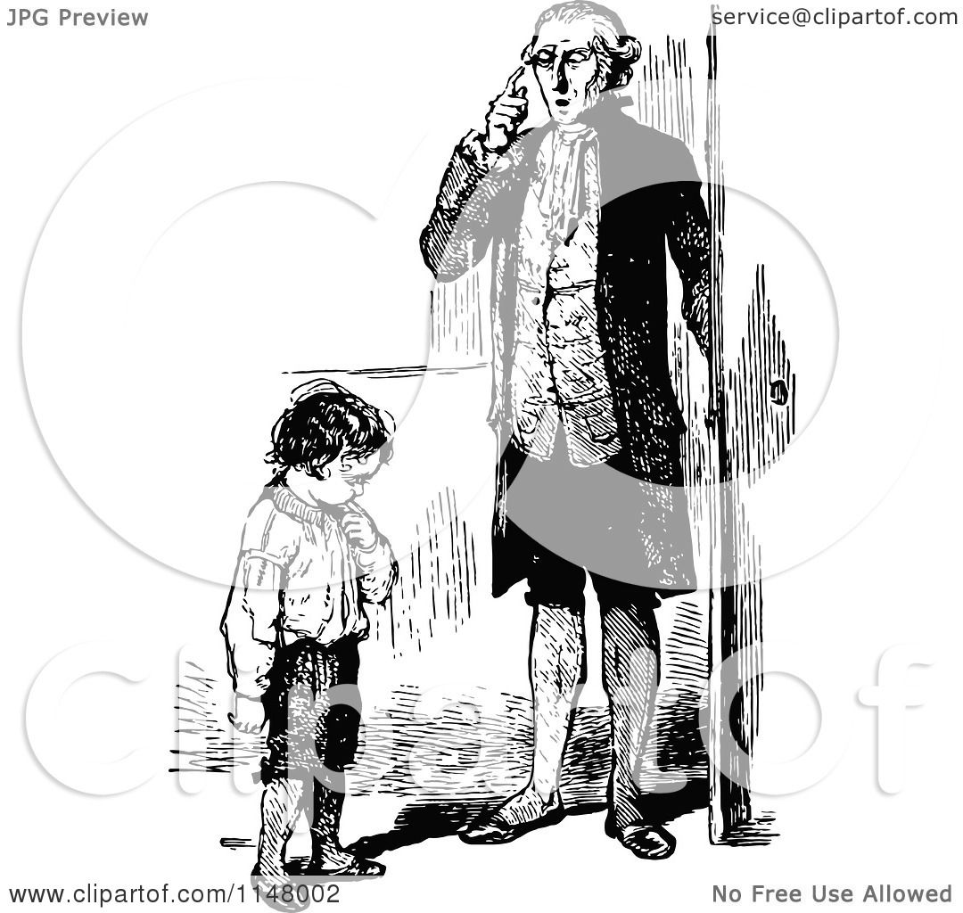 Clipart Of A Retro Vintage Black And White Father And Son