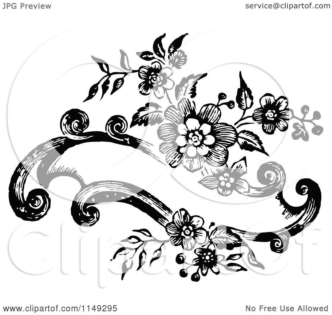 Clipart of a Retro Vintage Black and White Floral Banner ...