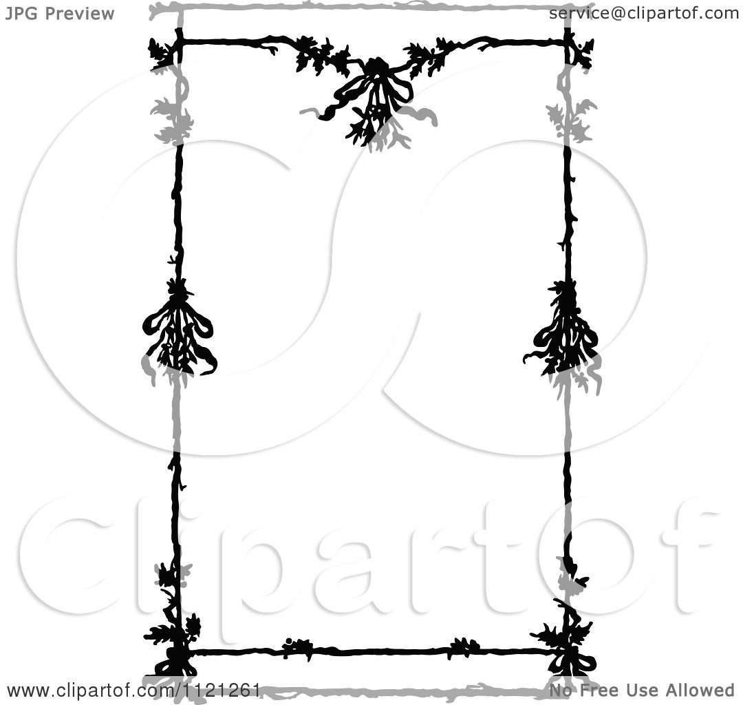 Clipart Of A Retro Vintage Black And White Floral Border