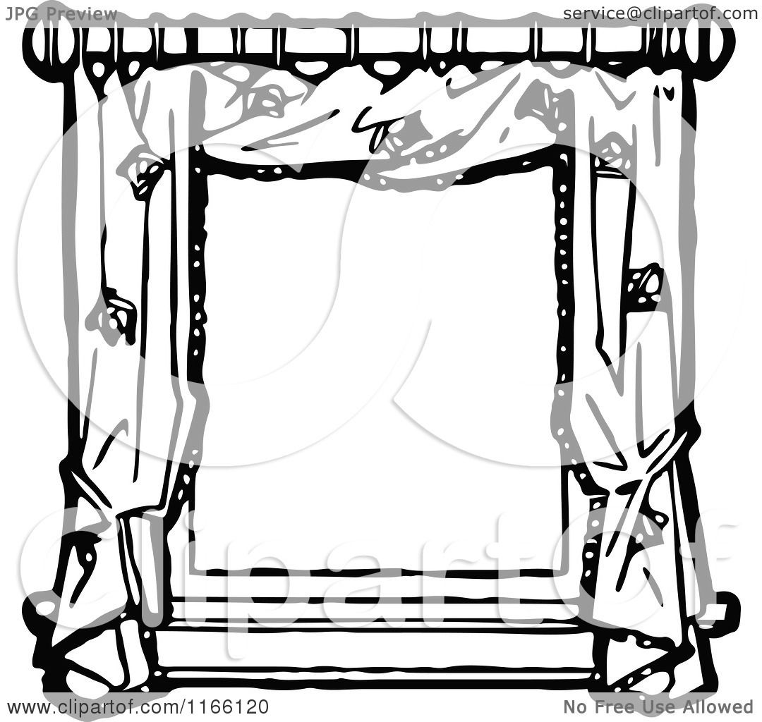 Clipart of a Retro Vintage Black and White Frame of Window Drapes ... for Window Clipart Black And White  545xkb