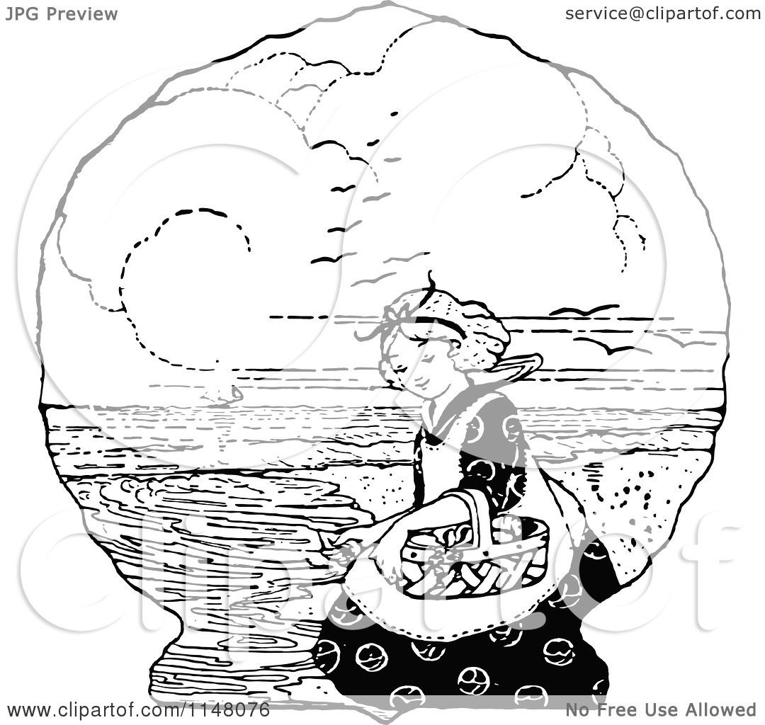 Clipart of a retro vintage black and white girl and basket on a beach royalty