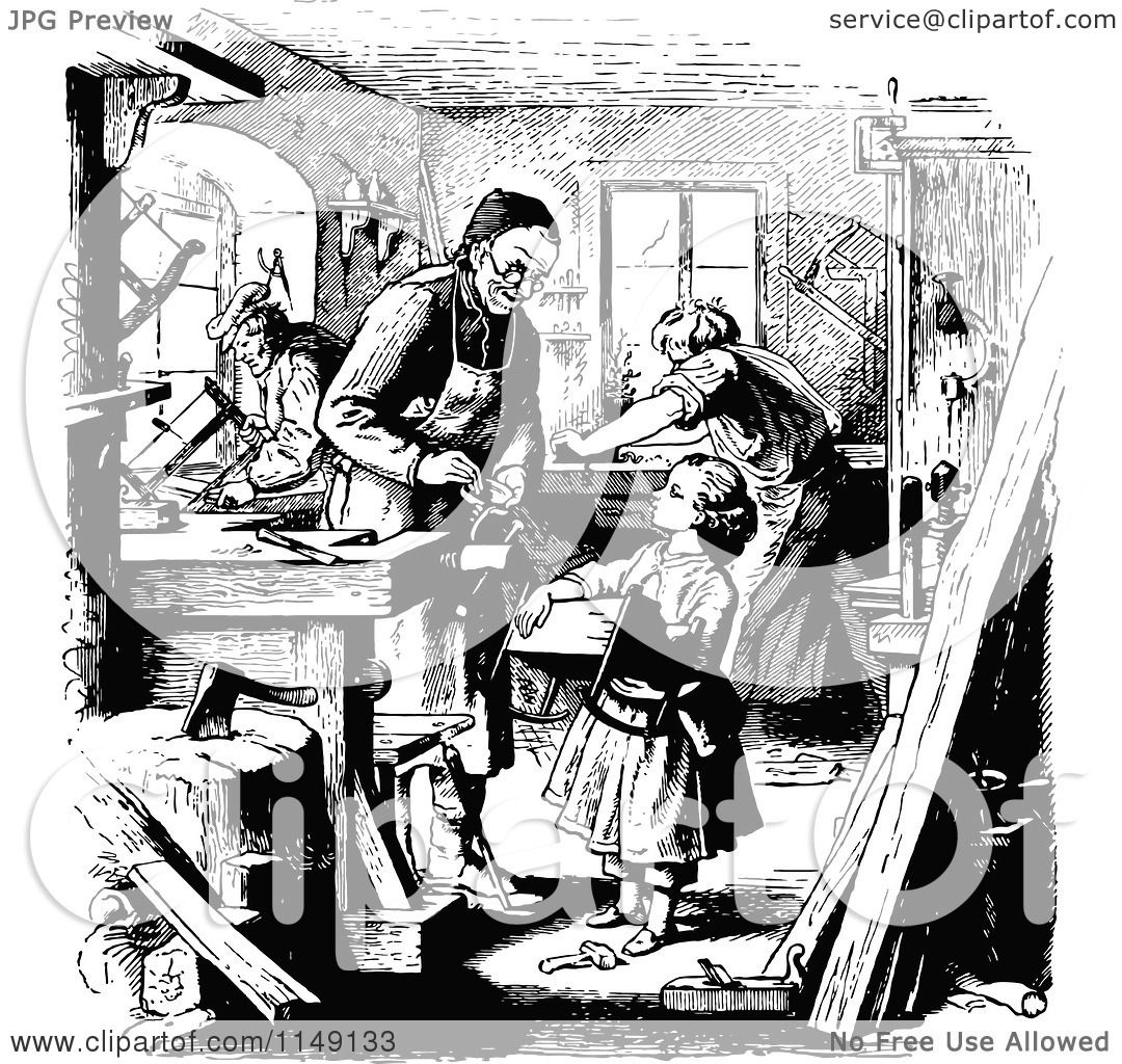 Clipart of a Retro Vintage Black and White Girl Helping in ...