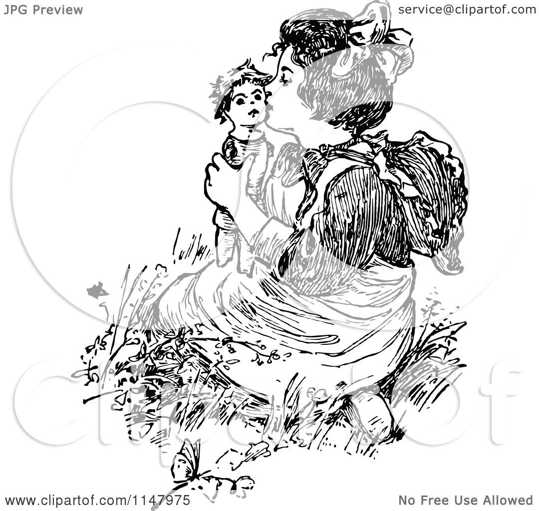 Clipart Of A Retro Vintage Black And White Girl Kissing A -1167