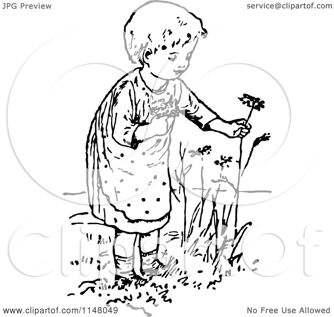 Clipart Of A Retro Vintage Black And White Girl Picking Flowers