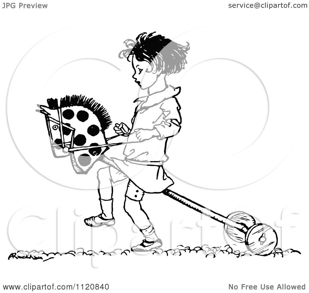 clipart of a retro vintage black and white girl playing with a hobby horse