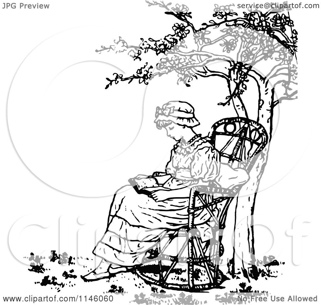 Clipart of a Retro Vintage Black and White Girl Reading ...