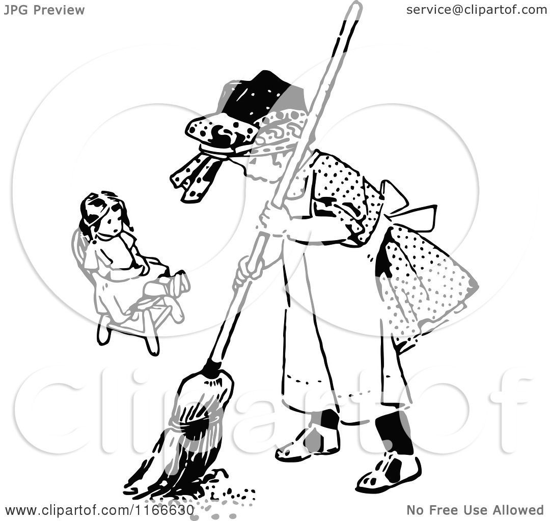 Clipart of a Retro Vintage Black and White Girl Sweeping