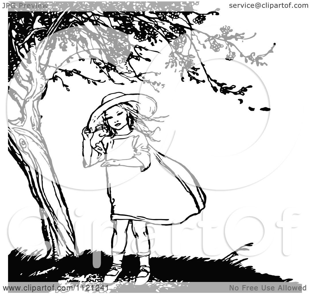 Clipart Of A Retro Vintage Black And White Girl Under A ...