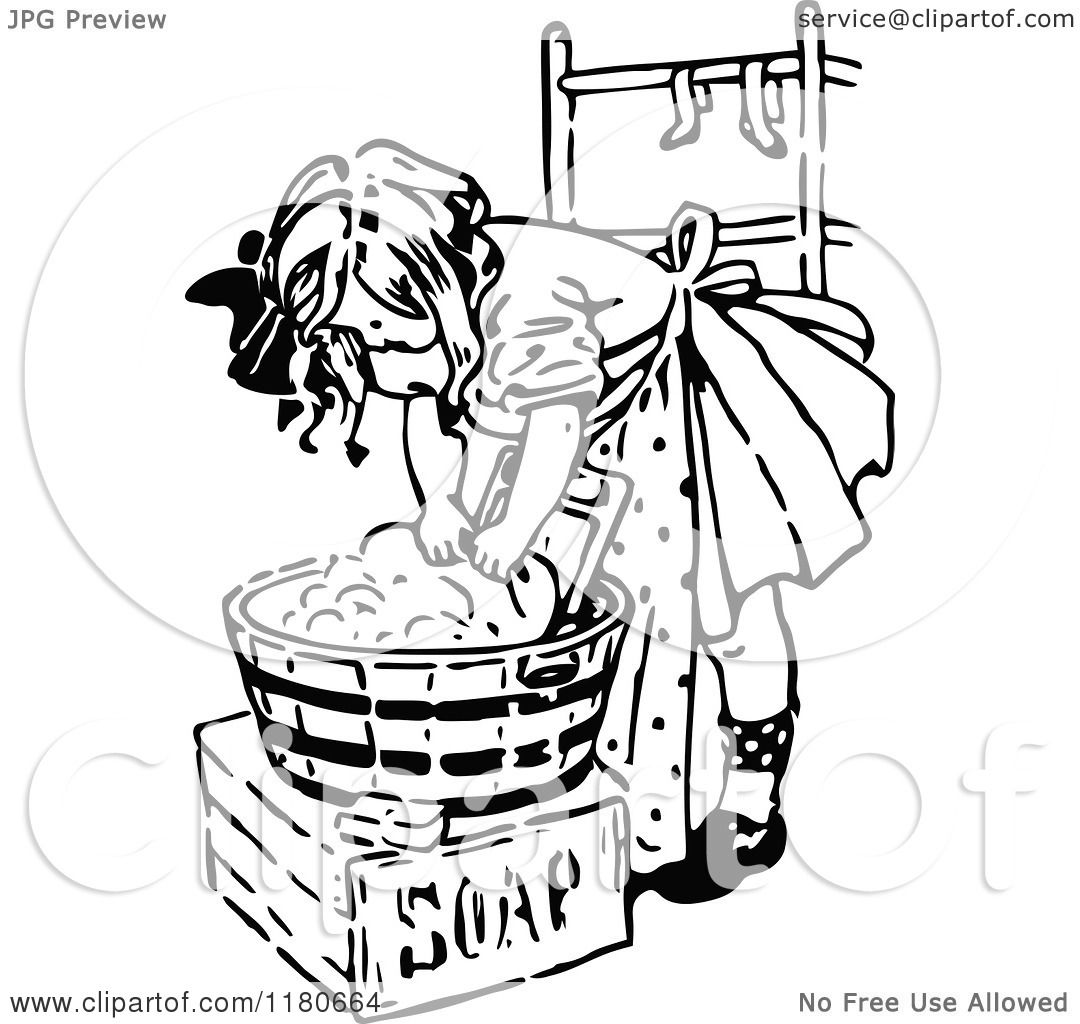 clipart of a retro vintage black and white girl washing