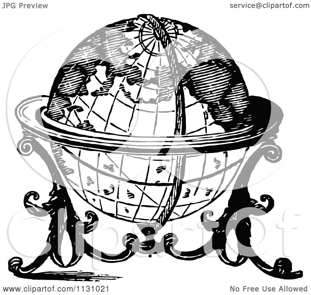 Clipart Of A Retro Vintage Black And White Globe On A Stand ...
