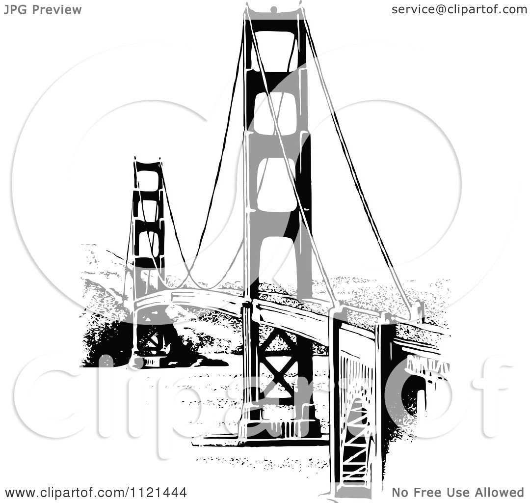 Clipart Of A Retro Vintage Black And White Golden Gate Bridge Diagram The Royalty Free Vector Illustration By Prawny