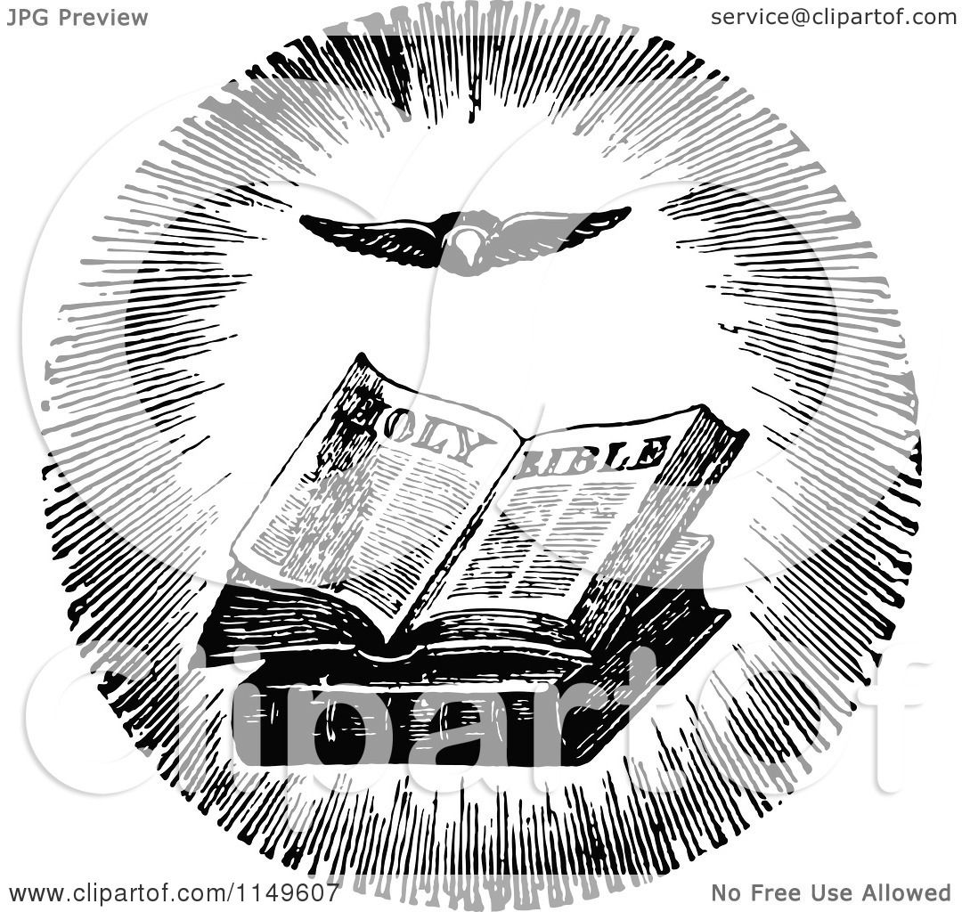 clipart of a retro vintage black and white holy bible and flying