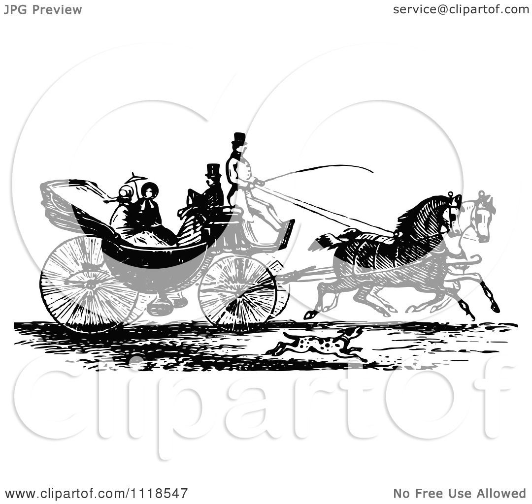 Clipart Of A Retro Vintage Black And White Horse Drawn Carriage And  Passengers 3 Royalty Free How To Draw A Carriage