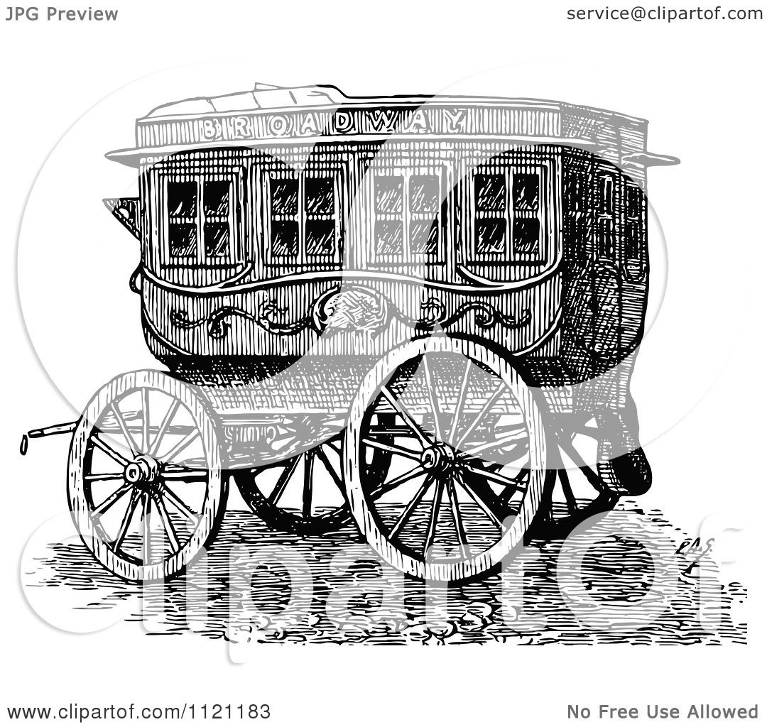 Clipart Of A Retro Vintage Black And White Horse Drawn Omnibus Wagon  Royalty Free Vector Illustration