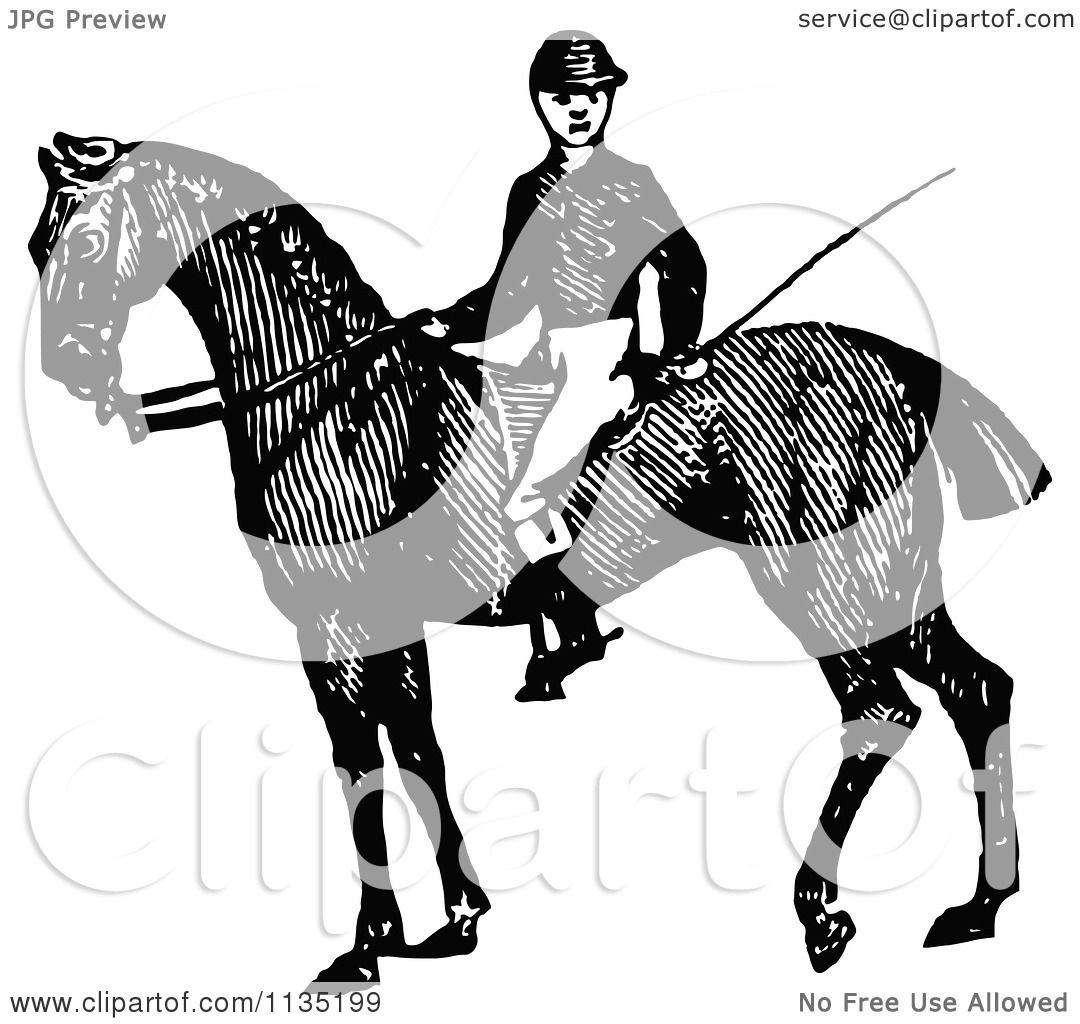 Clipart Of A Retro Vintage Black And White Jockey On A ...
