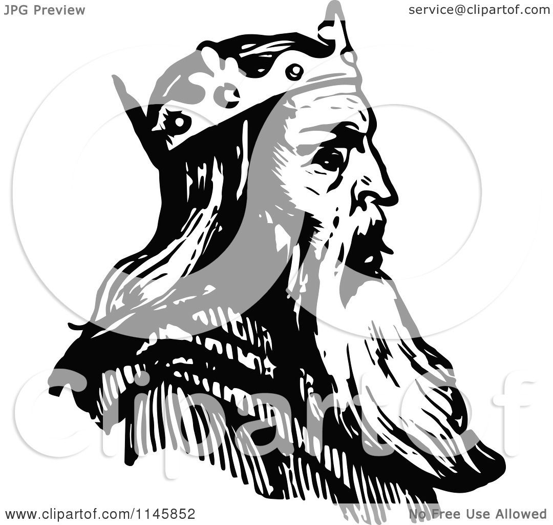 Clipart of a Retro Vintage Black and White King in Profile ... (1080 x 1024 Pixel)