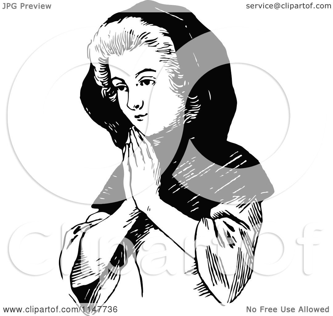 Clipart of a Retro Vintage Black and White Lady Praying - Royalty ...