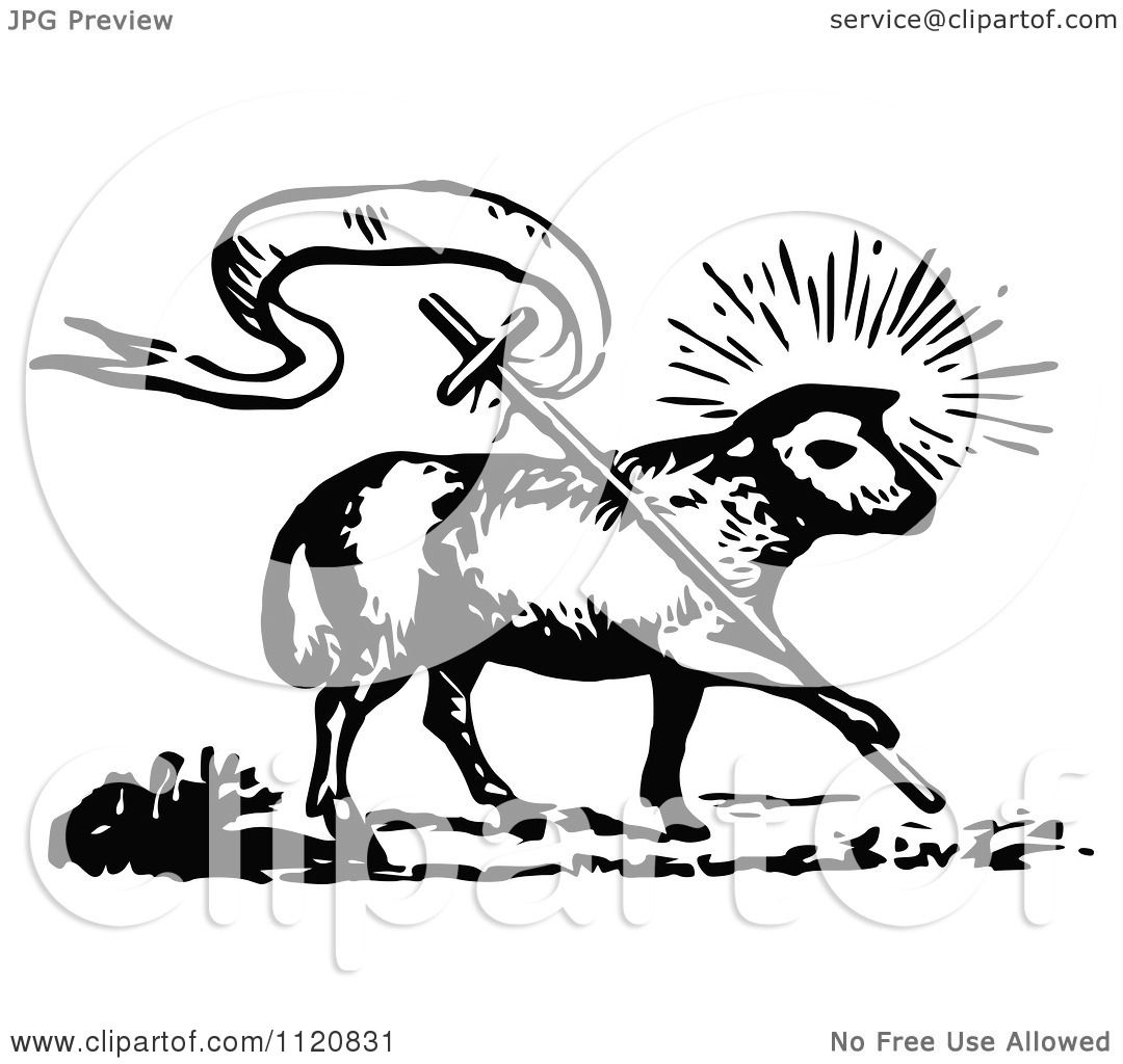 Clipart Of A Retro Vintage Black And White Lamb Of God With A ... for Lamb Of God Clipart  54lyp