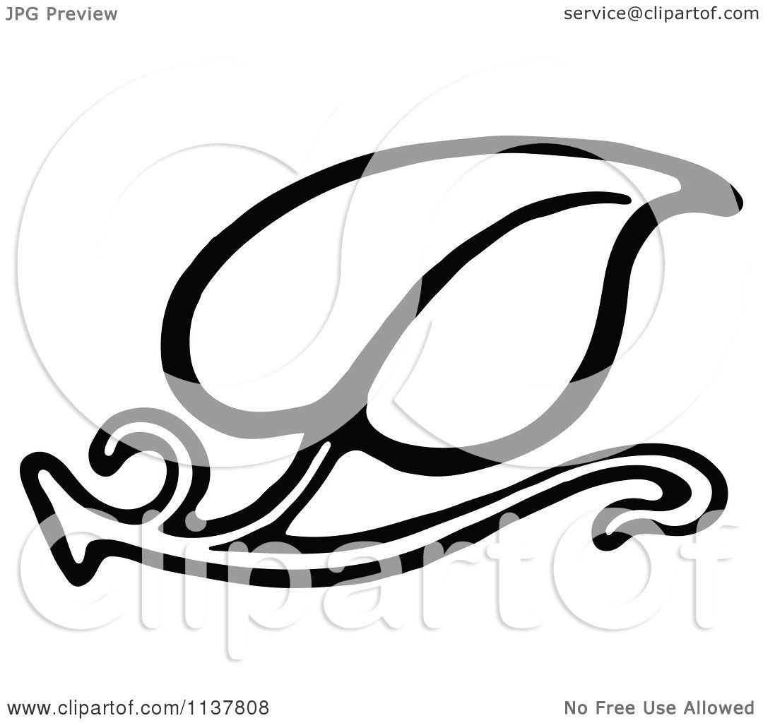 Clipart Of A Retro Vintage Black And White Leaf Design 1 ...