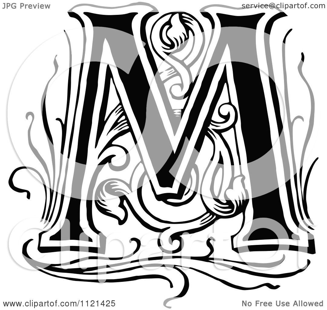 clipart of a retro vintage black and white letter m royalty free vector illustration by prawny. Black Bedroom Furniture Sets. Home Design Ideas