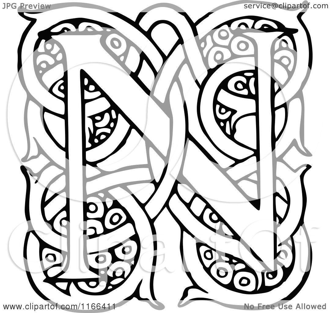 Clipart Of A Retro Vintage Black And White Letter N With Vines