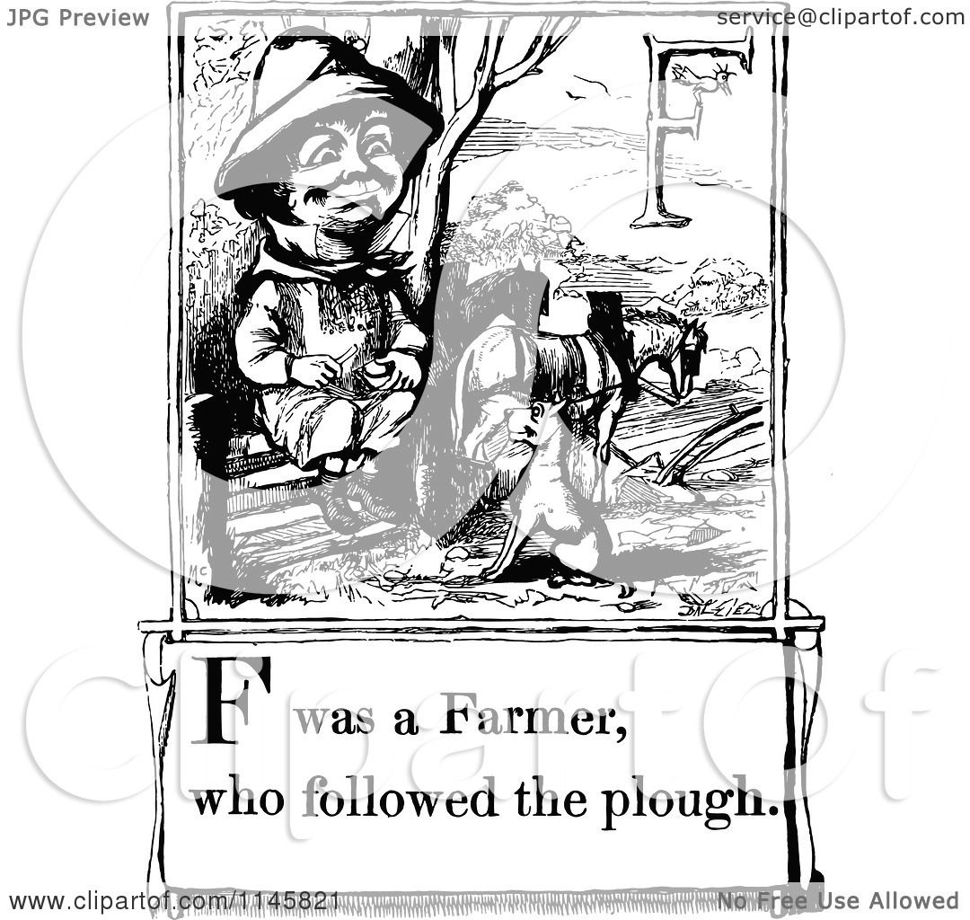 Clipart-Of-A-Retro-Vintage-Black-And-White-Letter-Page-With-F-Was-A