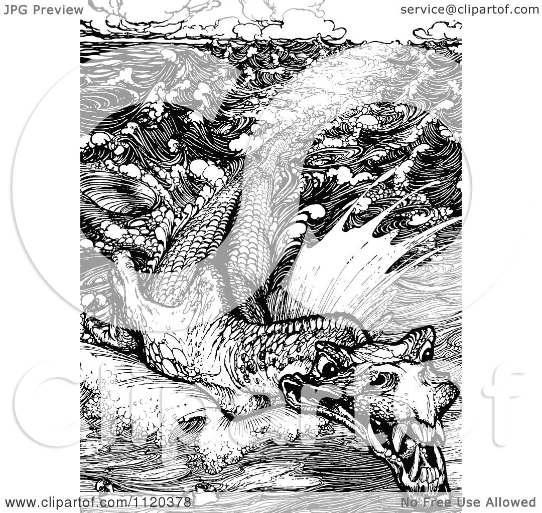 Classic Retro Illustration: Clipart Of A Retro Vintage Black And White Leviathan Sea