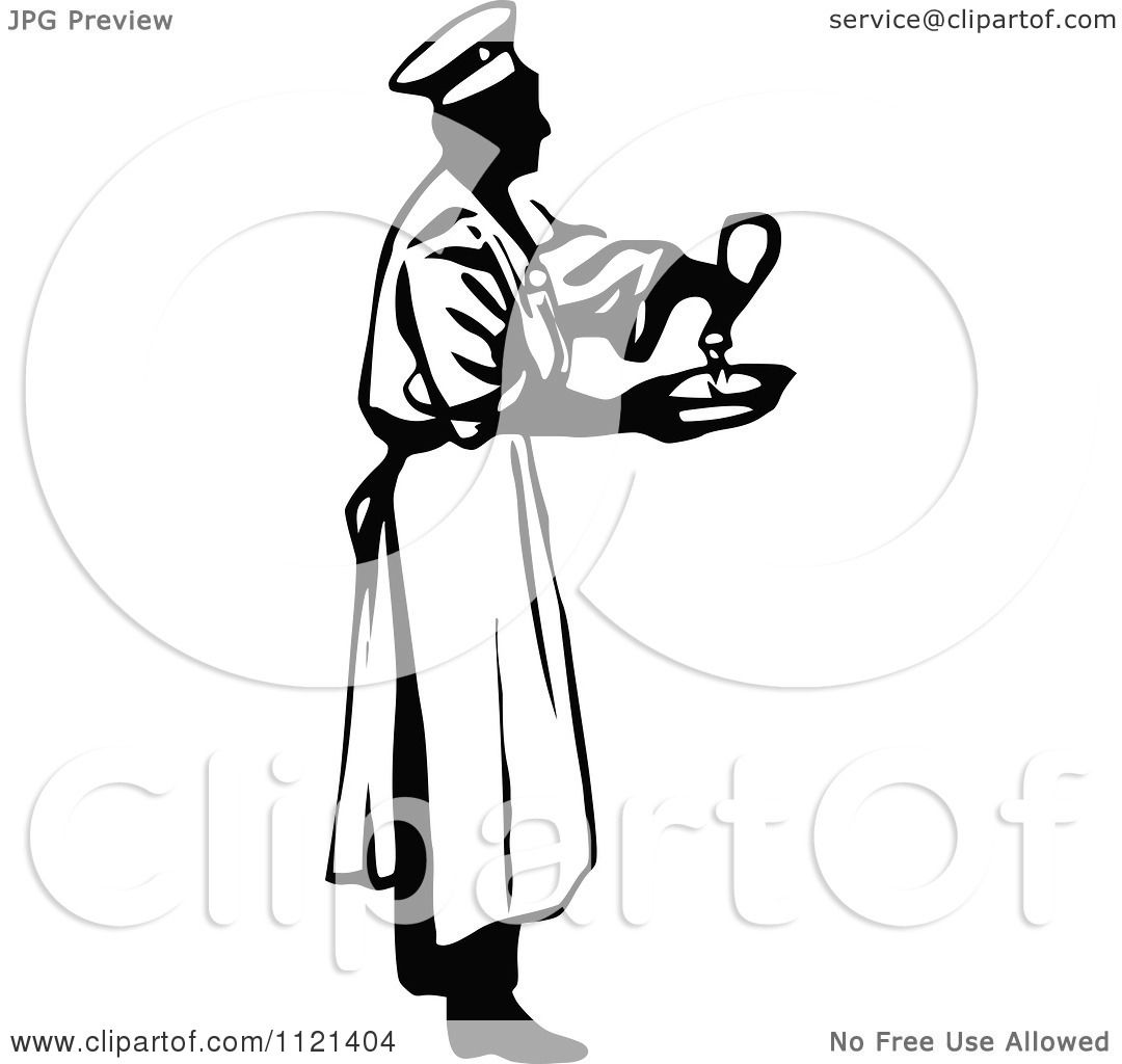 Clipart Of A Retro Vintage Black And White Male Chef Seasoning Food Royalty Free Vector