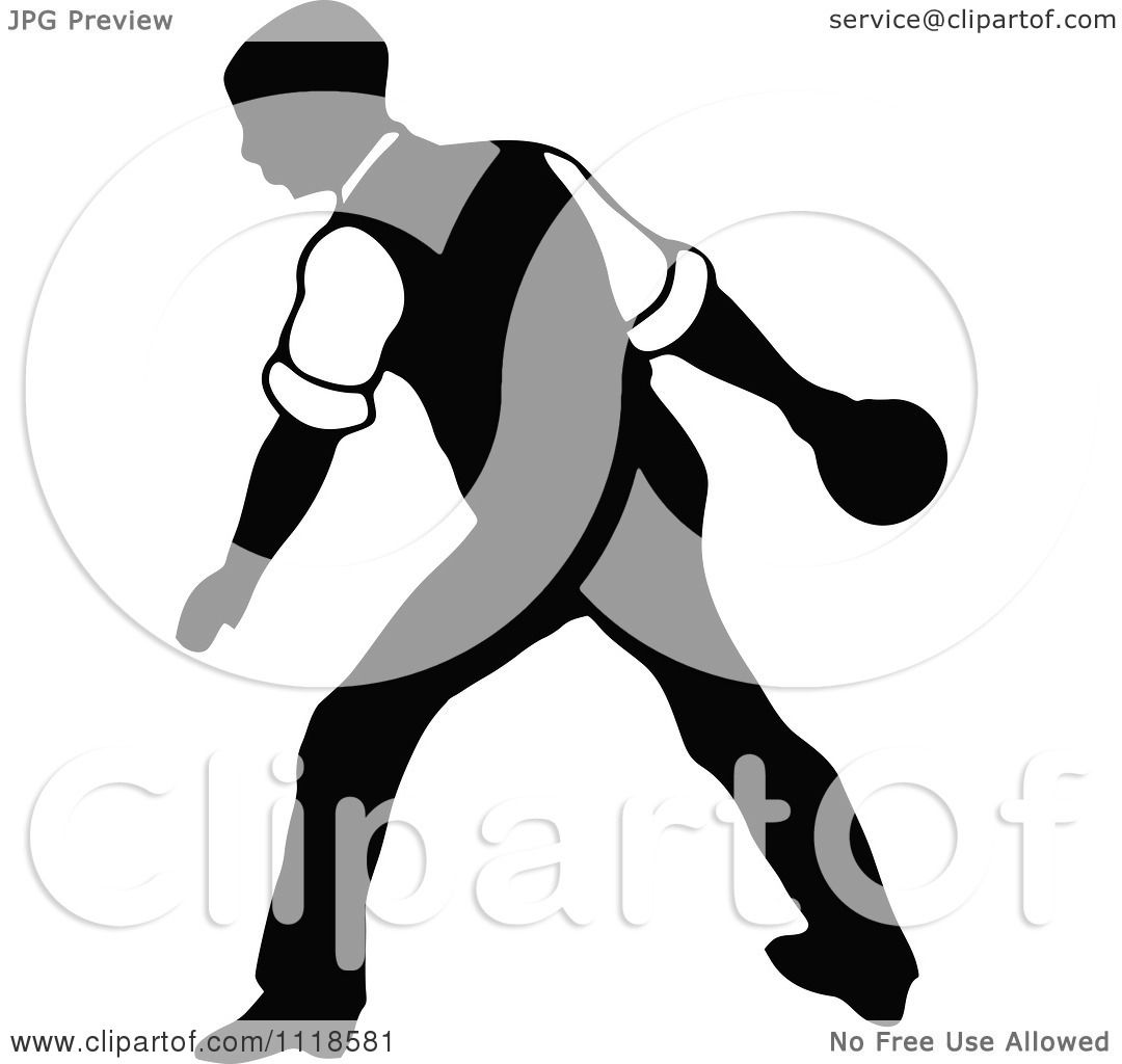 Clipart Of A Retro Vintage Black And White Man Bowling 10 ...