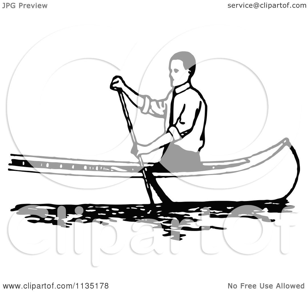 Clipart Of A Retro Vintage Black And White Man Canoeing 1