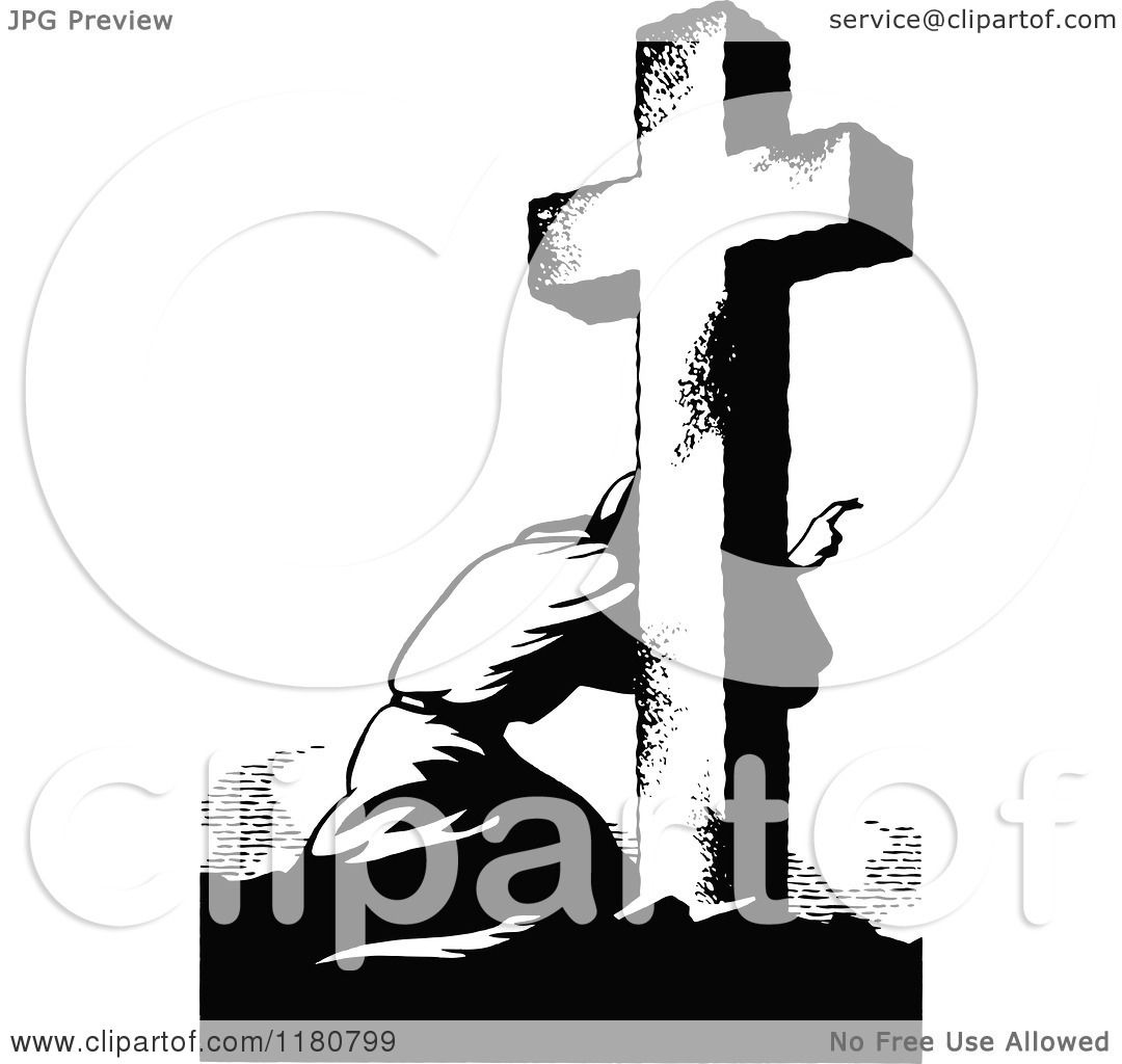 Clipart Of A Retro Vintage Black And White Man Kneeling At