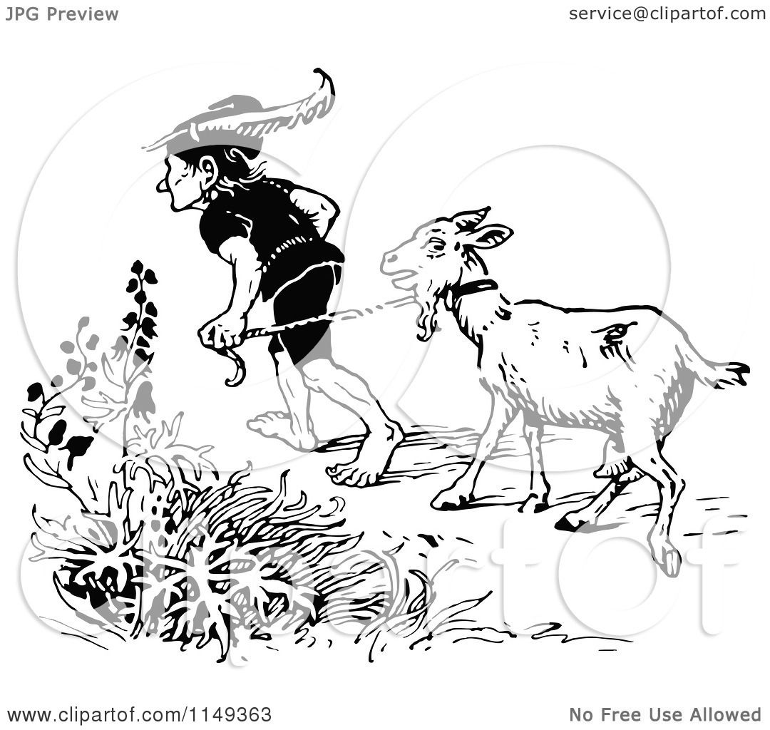 Clipart of a Retro Vintage Black and White Man Leading a Goat ...