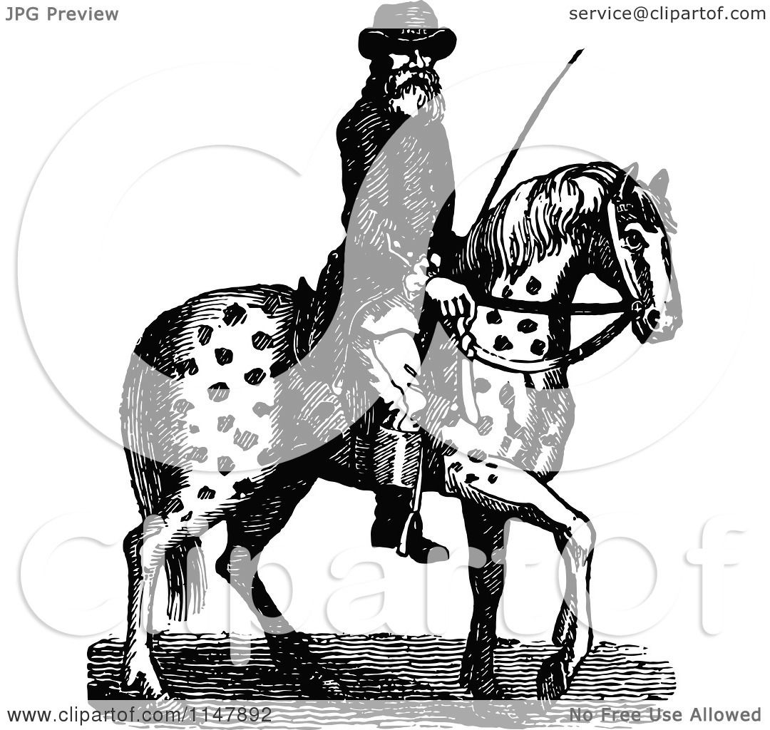 spotted horse coloring pages - clipart of a retro vintage black and white man on a