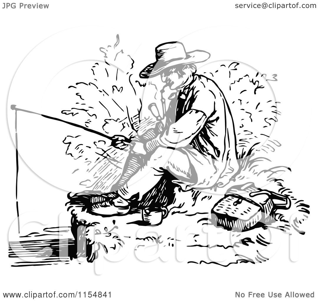 Clipart Of A Retro Vintage Black And White Man Smoking A