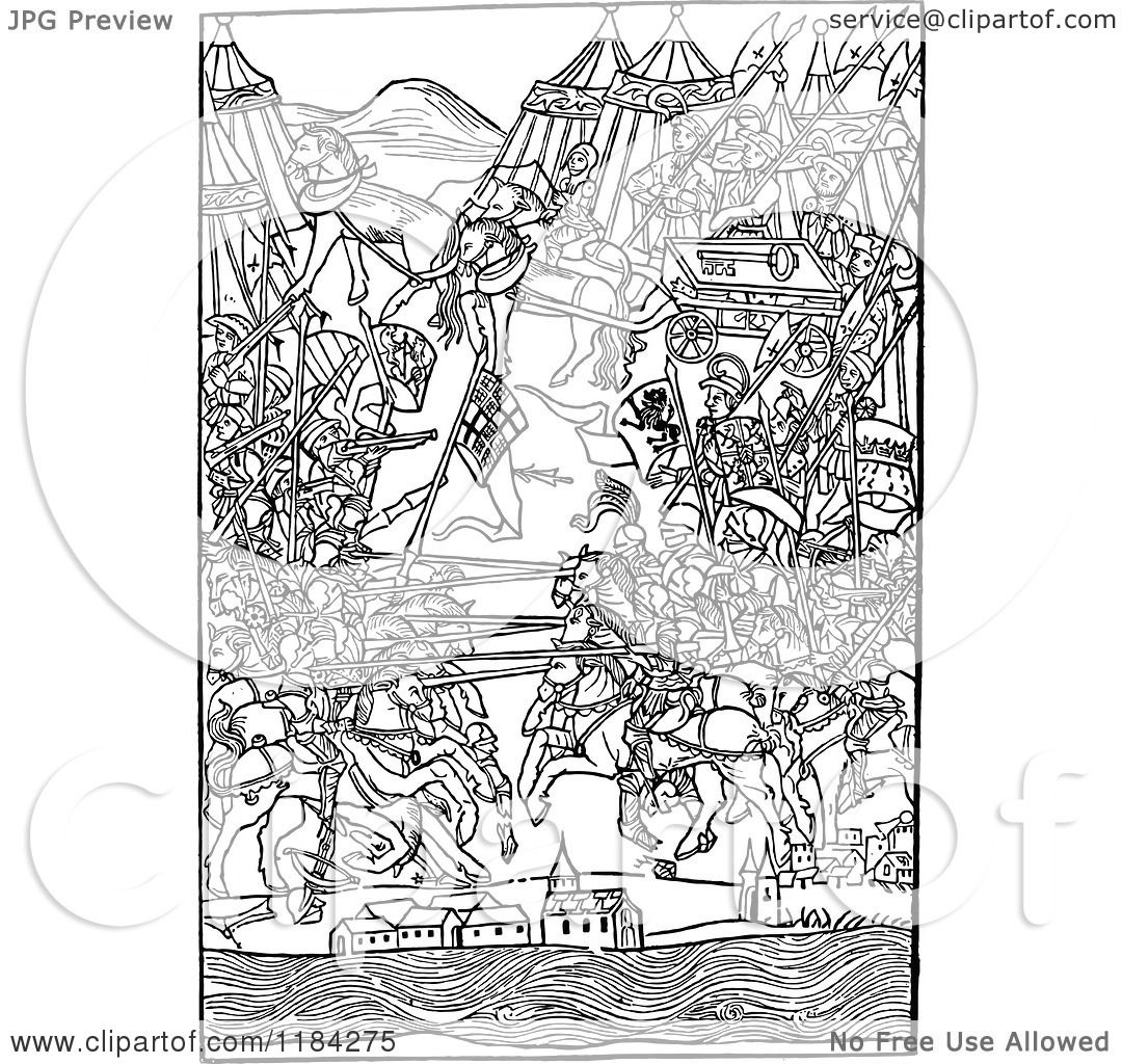 Clipart Of A Retro Vintage Black And White Medieval Battle