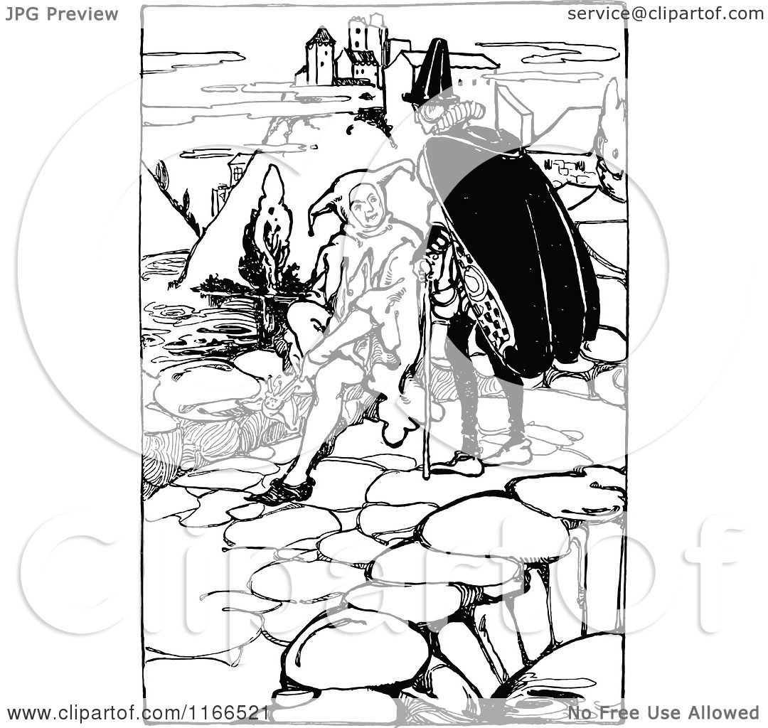 Clipart of a Retro Vintage Black and White Medieval Man and Jester ...