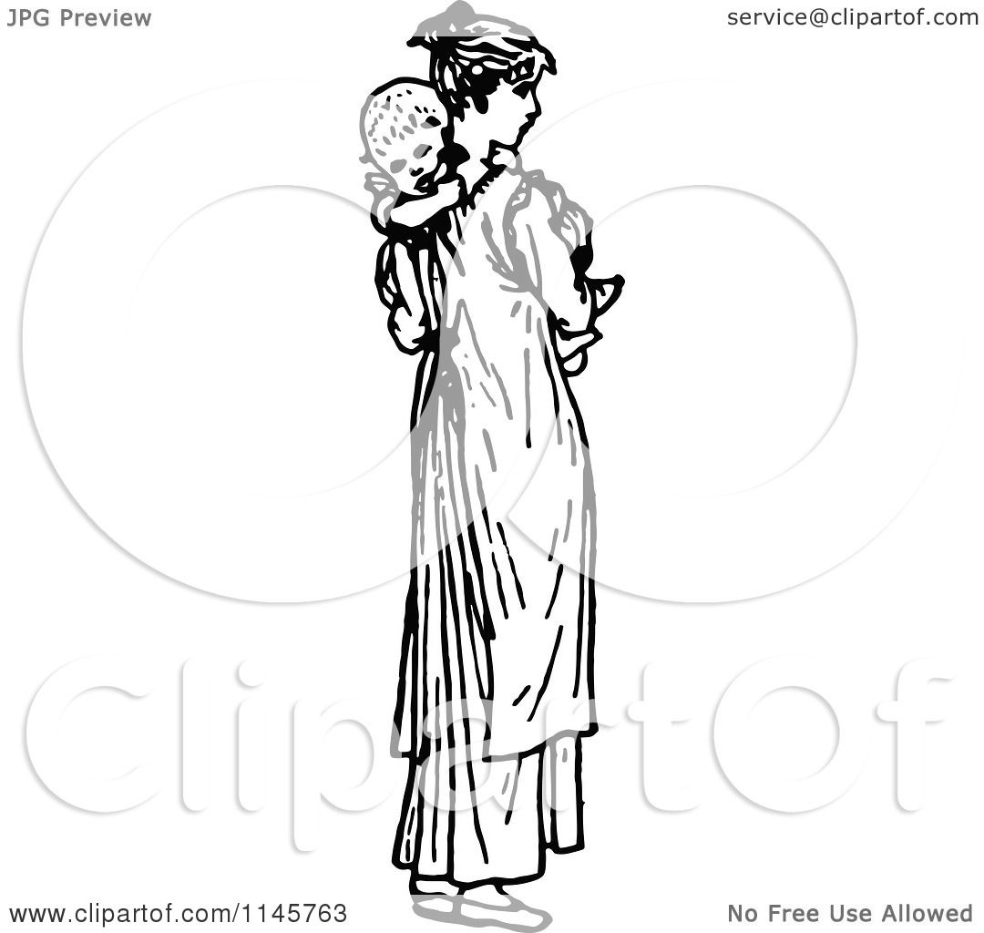 Clipart of a Retro Vintage Black and White Mother Carrying ...