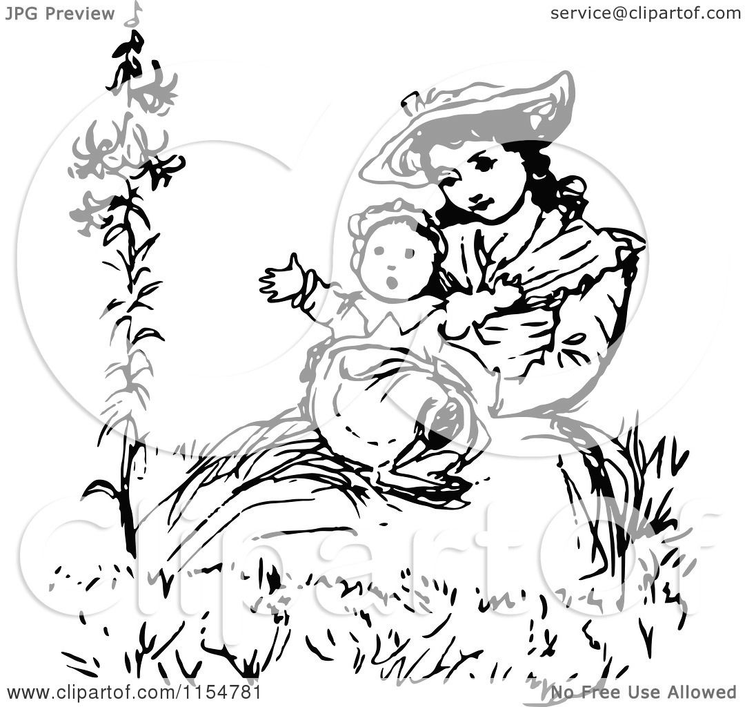 Clipart of a Retro Vintage Black and White Mother Holding ...