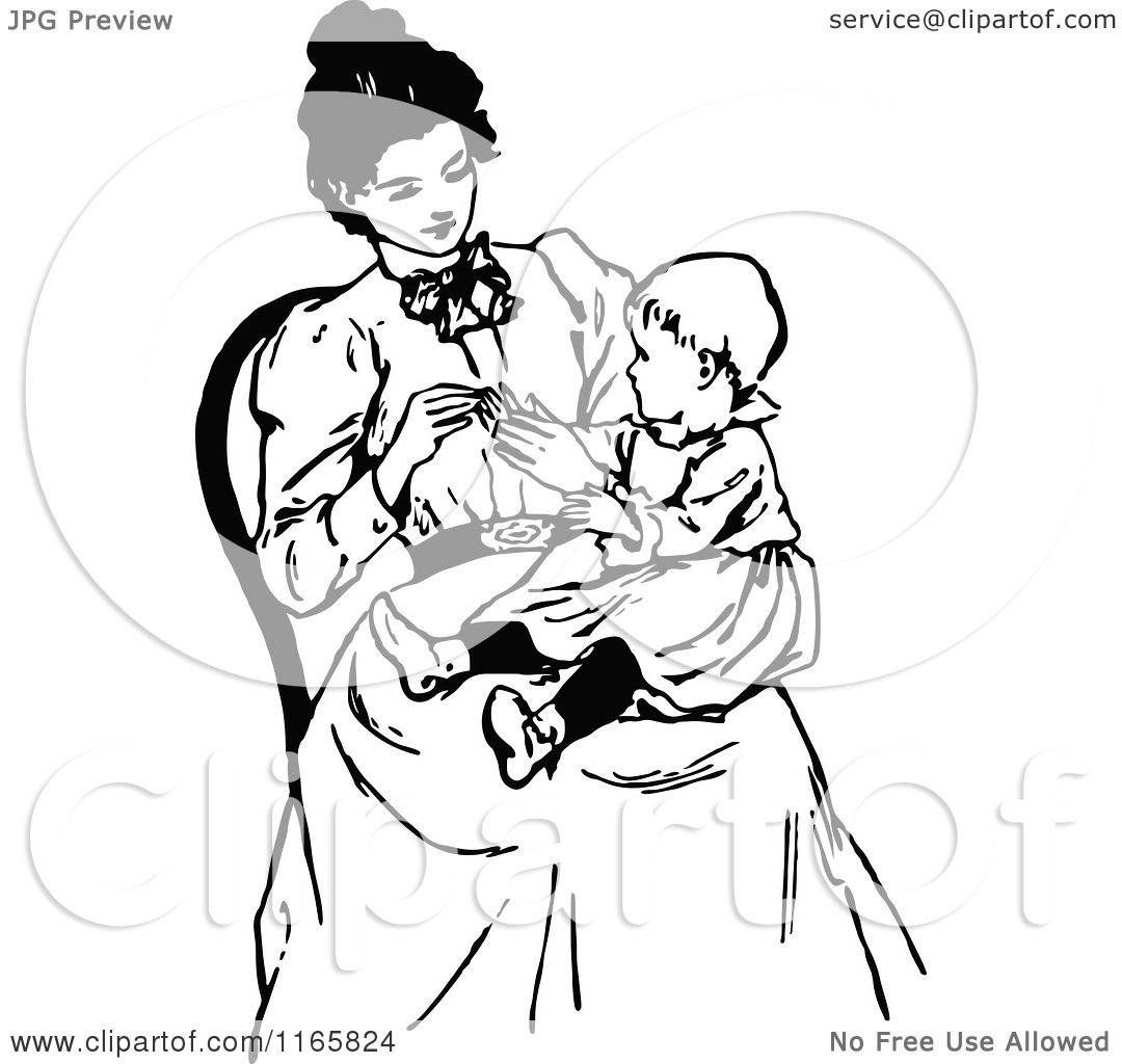 Clipart of a Retro Vintage Black and White Mother with a Baby in ...