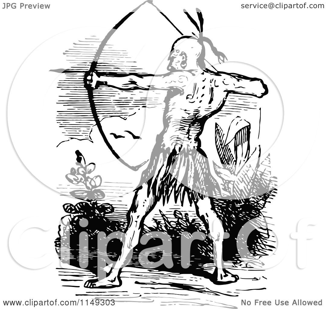 Clipart of a Retro Vintage Black and White Native American ...
