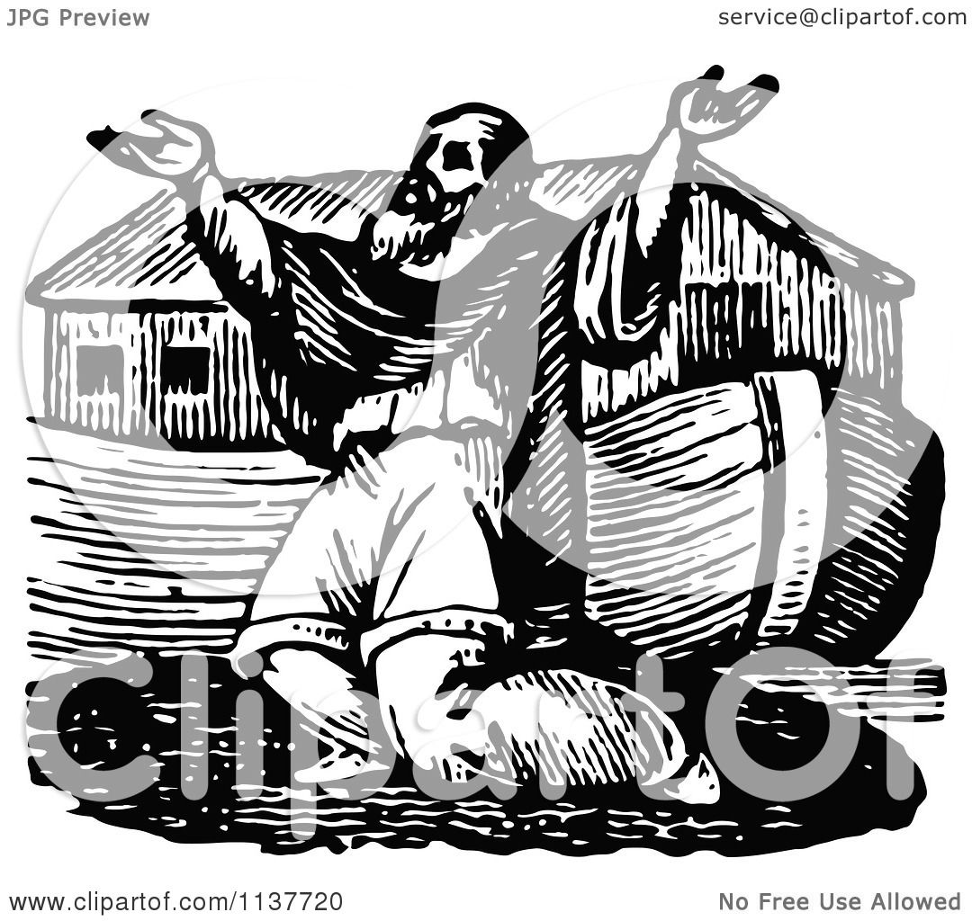 Clipart Of A Retro Vintage Black And White Noah Praying By