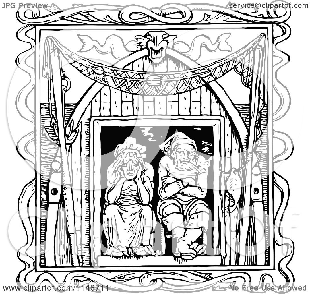 Clipart of a Retro Vintage Black and White Old Couple in a Window ... for Window Clipart Black And White  53kxo